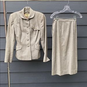 Vintage 30s/40s Wool Two Piece Peplum Skirt Suit